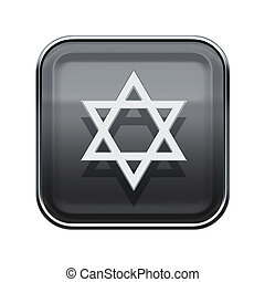 David star icon glossy grey, isolated on white background