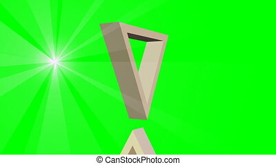 David star, jewish symbol, animation of two moving 3d triangles and point light rays, video on green screen