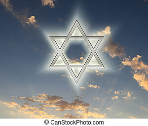 david star on blue sky - image of a David star against blue...
