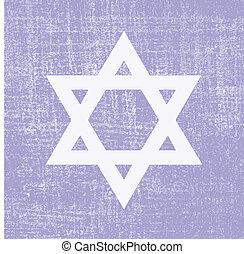 david star on grunge background, vector illustration