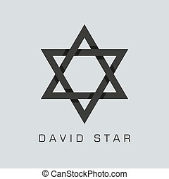 david star symbol or sign. isolated on grey background....