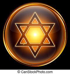 david, stjärna, ikon, gyllene, isolerat, på, svart, bakgrund.
