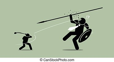 David versus Goliath. - Vector artwork depicts underdog...