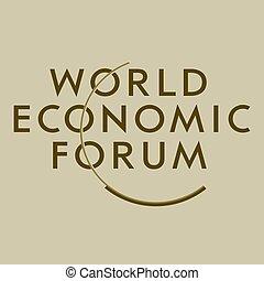 davos, mondo, economico, logotipo, foro