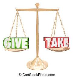 dawać, i, wziąć, złoty, tabela, waga, dzielenie, hojny,...