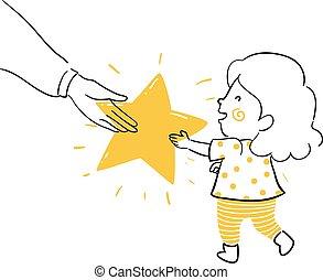 dawać, ilustracja, doodle, koźlę, dziewczyna, gwiazda, rodzic
