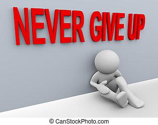 dawać, nigdy, -, do góry, człowiek, 3d