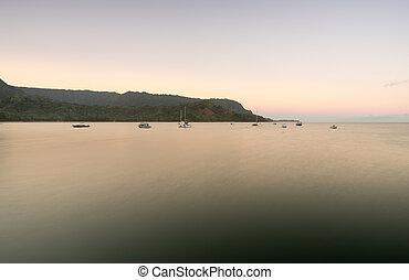 Dawn and sunrise at Hanalei Bay on Kauai Hawaii