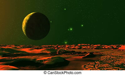 Dawn and UFO on Alien Planet