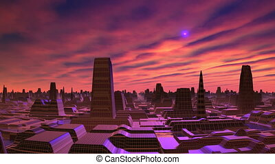 Dawn and UFO over the city of alien