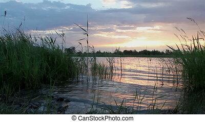 Dawn at lake. Timelapse View