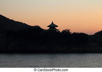 Dawn at Seto Inland sea in Tomonoura, Japan