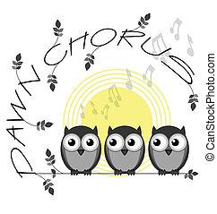 Dawn Chorus - Monochrome dawn chorus twig text isolated on...