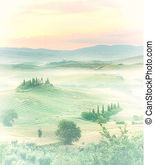 Dawn in a misty valley with view on Bevedere villa in the...