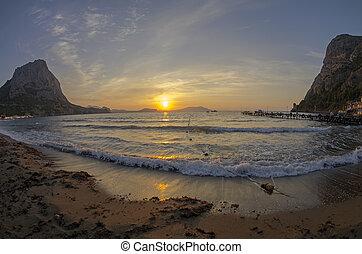 Dawn in a small bay of the Black Sea.
