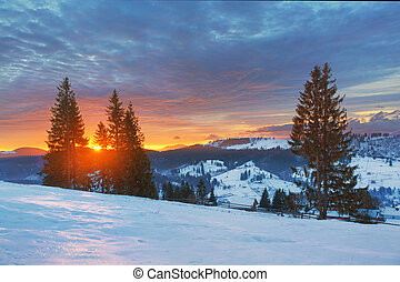 Dawn in mountains, winter