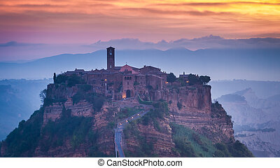 Dawn in Old town of Bagnoregio in Umbria, Italy