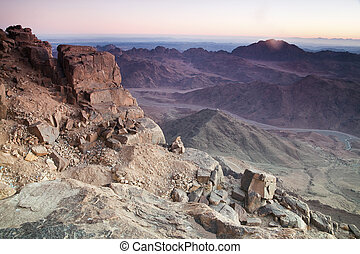 Dawn in Sinai Mountains - view from Mt Moses