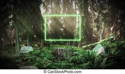 Dawn in the forest with a neon rectangle HD