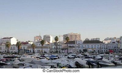 Dawn in the Portuguese city of Faro in the seaport. Algarve