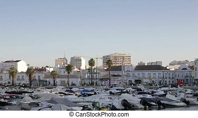 Dawn in the Portuguese city of Faro in the seaport. Algarve
