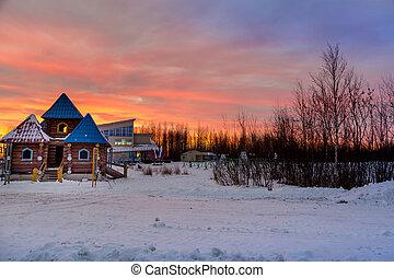 Sunrise over the ski town ready for the ski season