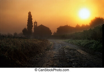 Dawn in Tuscany with church