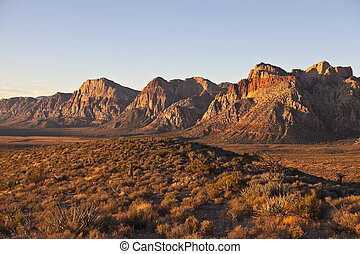 Dawn light at Red Rock National Conservation Area, Nevada -...