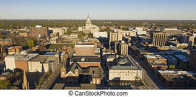 Dawn Light Hits Downtown State Capitol Building Sprigfield Illinois