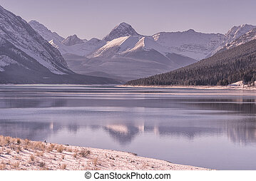 Dawn Mountain Landscape at Spray Lake in Winter