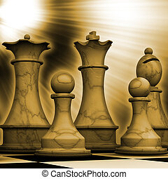 Dawn of the battle - Conceptual image depicting chess pieces...