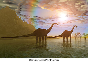 DAWN OF THE DINOSAURS - Two Diplodocus dinosaurs wade...