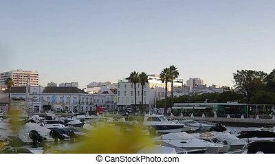 Dawn on the Dock in city of Faro. Algarve Portugal