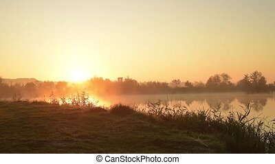 Dawn on the lake timelapse lake, landscape, water, smoke