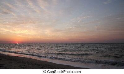 Dawn on the sea shore - Sunrise on the coast of the Azov...