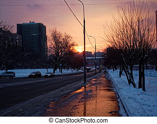 dawn on the winter streets of Moscow