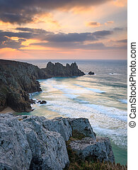 Dawn on Treen Cliffs Cornwall - Dramtic sunrise over...