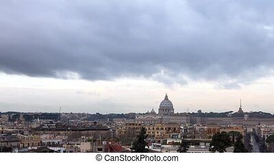 Dawn over Rome. Piazza del Popolo. Panorama. Italy