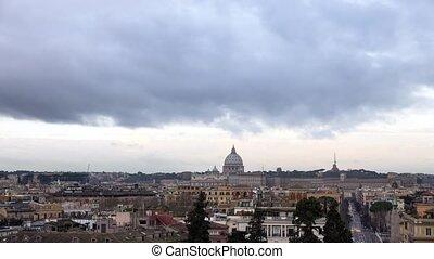 Dawn over Rome. Piazza del Popolo. TimeLapse. Italy