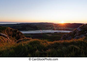 Dawn over Te Mata Peak, Hawkes Bay, New Zealand