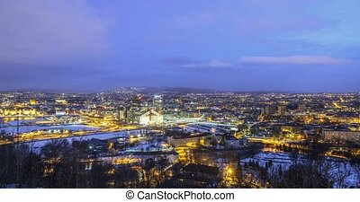 Dawn over the city. Oslo, Norway. TimeLpase