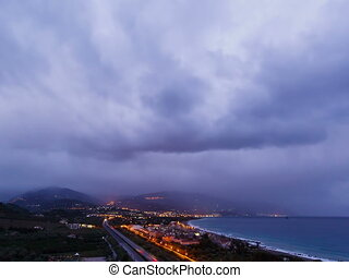 Dawn over the coast of Sicily. Italy. Time Lapse. 4x3