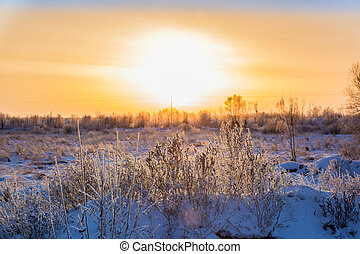 Sunrise over the river floodplain covered with snow and ice, early December morning