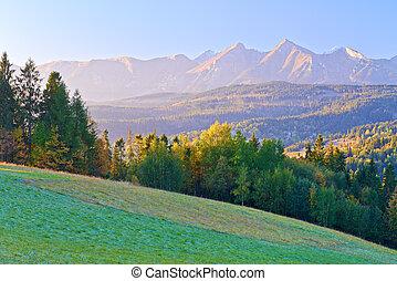 Dawn over The High Tatras. The Carpathian Mountains. View From Spis Magura, Podhale. Poland.