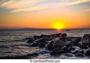 Dawn over the sea.