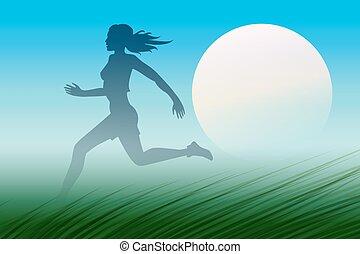 Dawn Runner - Healthy Run Design template. Young woman ...