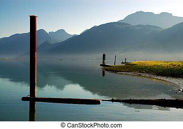 Dawn scene at Pitt Lake, British Columbia