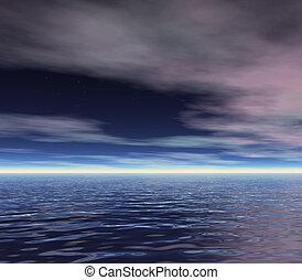 dawn sky - an ocean skyline at dawn