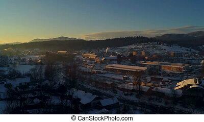 Dawn time lapse winter village
