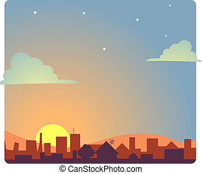 Dawn - View of a city scape at dawn.